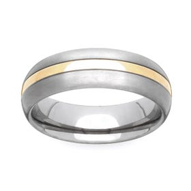 Titanium and Yellow Metal 6mm Ring