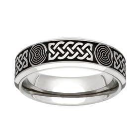 Titanium Flat Profile Celtic Engraved 6mm Ring