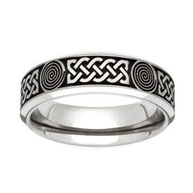 Titanium Flat Profile Celtic Engraved 6mm Ring