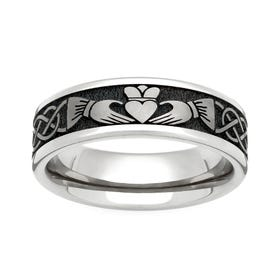 Titanium Flat Profile Claddagh 6mm Ring