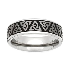 Titanium Trinity Engraved 6mm Ring