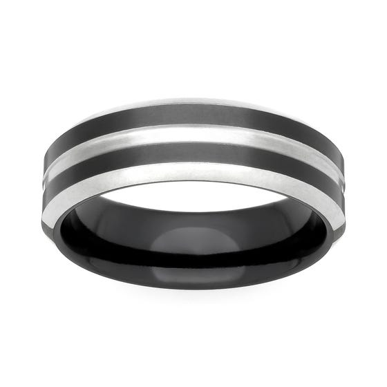 Zirconium Black and Natural 6mm Ring