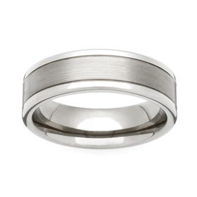 Titanium Satin and Polished 6mm Ring