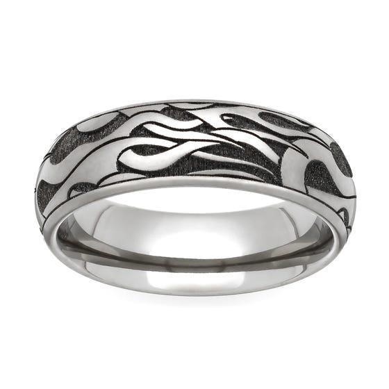 Titanium Flames Engraved 5mm Ring