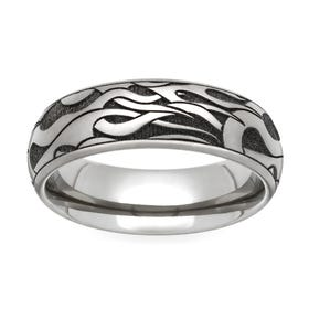 Titanium Flames Engraved 6mm Ring