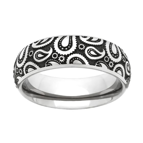 Titanium Paisley Engraved 5mm Ring