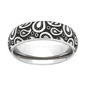 Titanium Paisley Engraved 6mm Ring