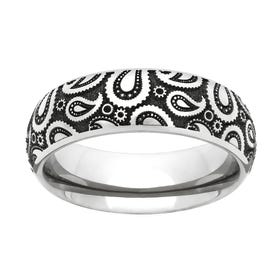 Titanium Paisley Engraved 6mm Ring