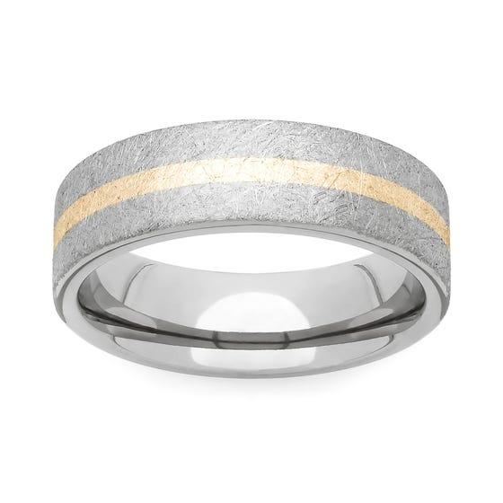 Brushed Titanium and Yellow Metal 5mm Ring