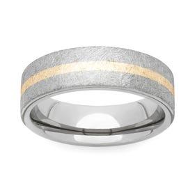 Brushed Titanium and Yellow Metal 6mm Ring
