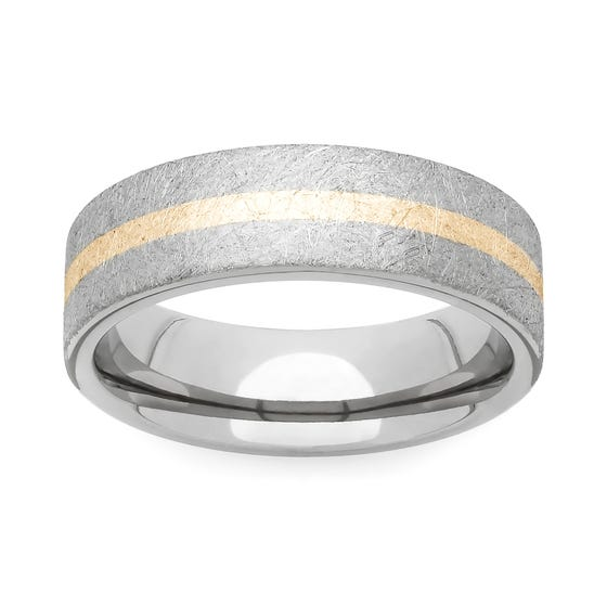 Brushed Titanium and Yellow Metal 6mm Ring