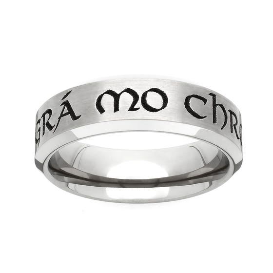 Titanium Celtic Engraved with 'Love of my Heart' 6mm Ring