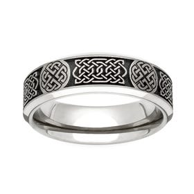 Titanium Celtic Engraved 6mm Ring
