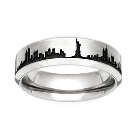 Titanium New York Engraved 5mm Ring