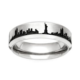 Titanium New York Engraved 6mm Ring