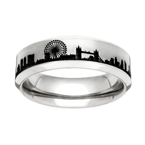 Titanium London Engraved 5mm Ring