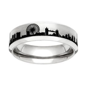 Titanium London Engraved 6mm Ring