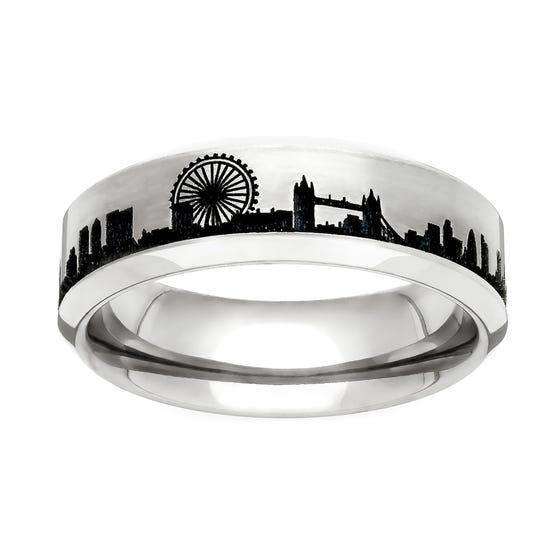 Titanium London Engraved 6mm Ring