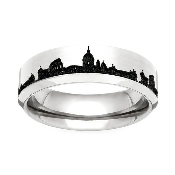 Titanium Rome Engraved 5mm Ring