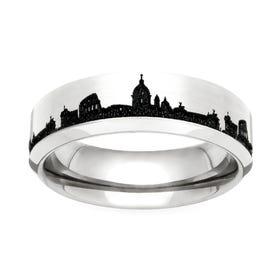 Titanium Rome Engraved 6mm Ring