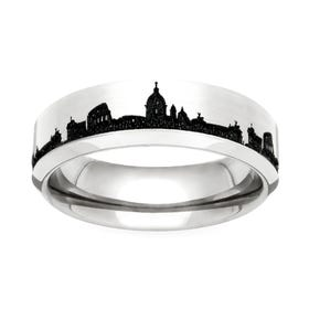 Titanium Rome Engraved 6mm Ring