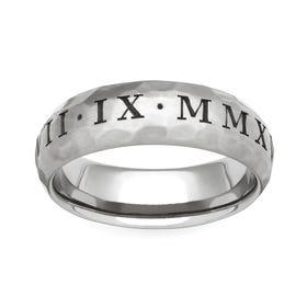 Titanium Roman Numeral Engraved 5mm Ring
