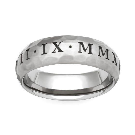 Titanium Roman Numeral Engraved 6mm Ring
