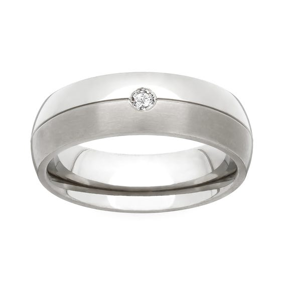 Titanium and Diamond 5mm Ring