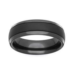 Zirconium Satin Brushed and Polished 6mm Ring