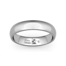 Personalised Engraved Titanium Court 6mm Ring