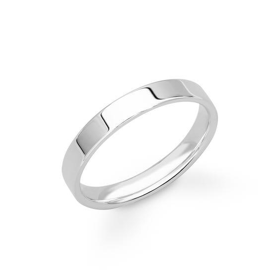 9ct White Gold Flat Court Wedding 4mm Ring