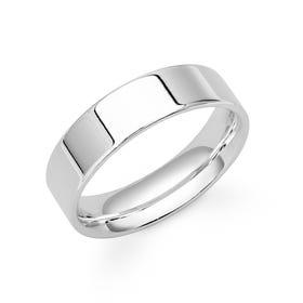9ct White Gold Flat Court Wedding 6mm Ring
