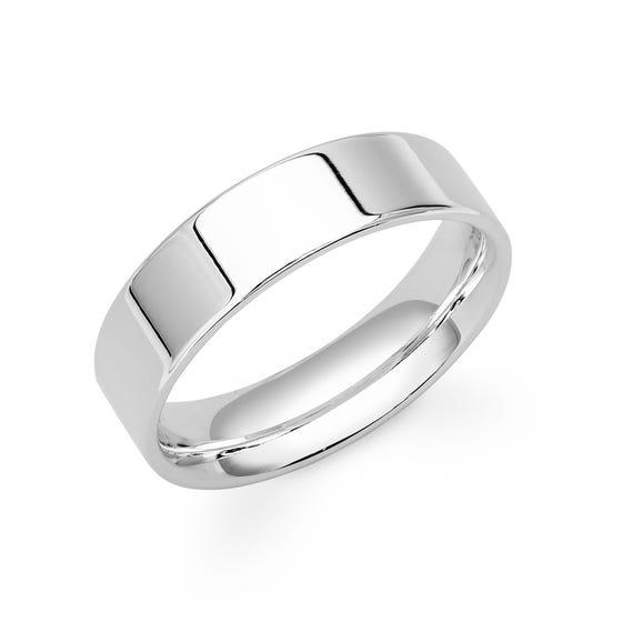 9ct White Gold Flat Court Wedding 7mm Ring