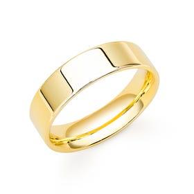 9ct Yellow Gold Flat Court Wedding 6mm Ring