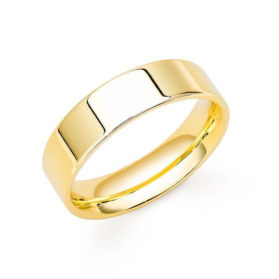 9ct Yellow Gold Flat Court Wedding 7mm Ring