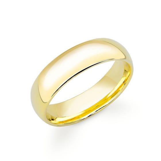 18ct Yellow Gold Court Wedding 6mm Ring