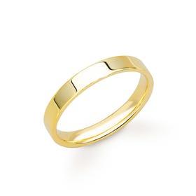 18ct Yellow Gold Flat Court Wedding 3mm Ring
