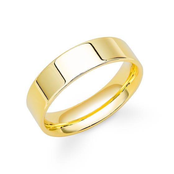 18ct Yellow Gold Flat Court Wedding 7mm Ring