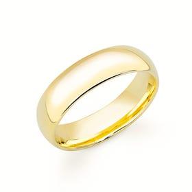 9ct Yellow Gold Court Wedding 6mm Ring