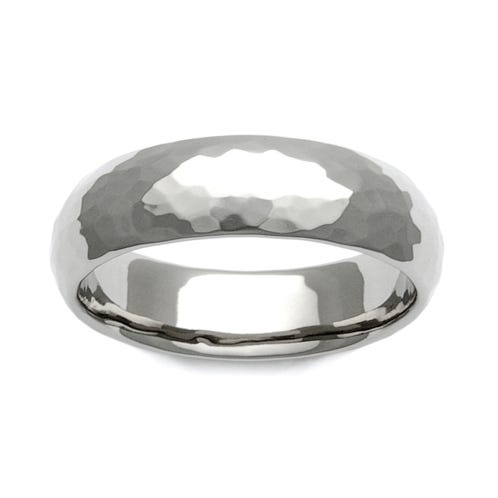 Titanium Hammered 7mm Ring