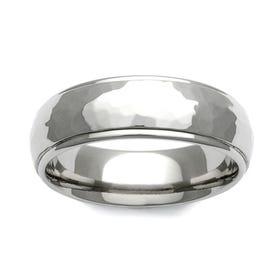 Titanium Hammered Shoulder Cut 7mm Ring