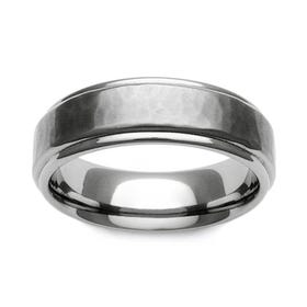 Titanium Brushed Hammered Recessed Edge 7mm Ring