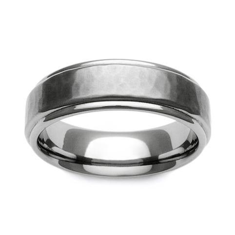 Titanium Brushed Hammered Recessed Edge 7mm Ring