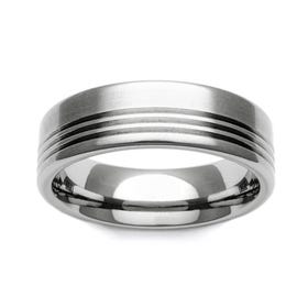 Titanium Stripe Accent 7mm Ring