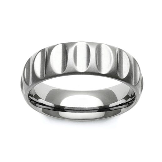 Titanium Curved Ribbed 7mm Ring