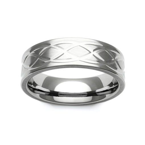 Titanium Celtic Knot Design 7mm Ring