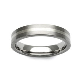 Titanium and Gold 4mm Ring