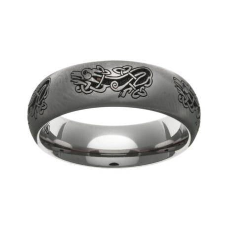 Titanium Laser Engraved Celtic Dog 7mm Ring
