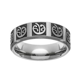 Titanium Laser Engraved New Zealand Koru Fern 7mm Ring