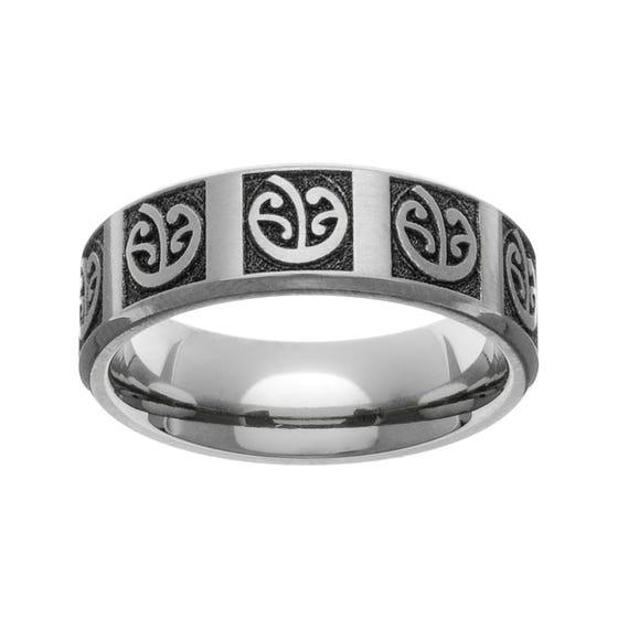 Titanium Laser Engraved New Zealand Koru Fern 7mm Ring